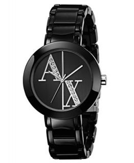 Armani Exchange Watch, Womens Black Plastic Strap 34mm AX4056