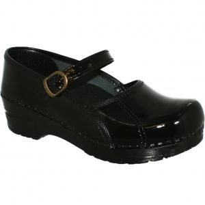 New Sanita Marcelle Mary Jane Clog in Black Patent