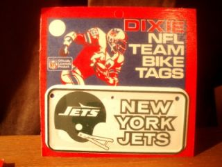 Vtg 80s New York Jets NFL Football Team Bicycle Bike Metal Tag Plate