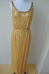 Vintage 60s Gold Metallic Sequin Beaded Dress Gown S