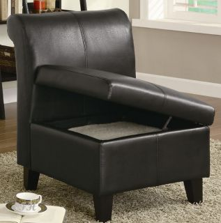 Marlow Dark Brown Bycast Leather Accent Chair Storage