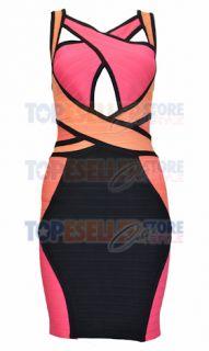 Maria Fowler Salmon Criss Cross Bandage Dress XS s M L Bodycon