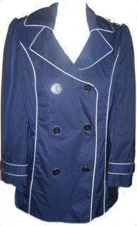 Marks Spencer per Una Navy Raincoat New Sizes 12 20