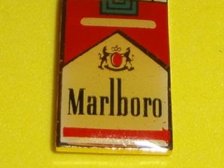 Marlboro Cigarettes Pack Tobacco Vtg Enamel Metal Hat Pin Badge Smoke