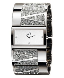 Armani Exchange Watch, Womens Crystal Accented Stainless Steel