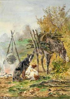 Antique France Calvès Marie Didière Dogs Oil Painting