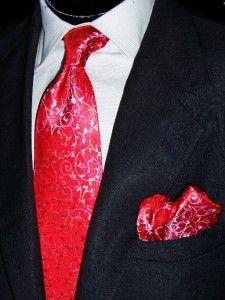 Lorenzo Martelli Red Silver Hotpink Vines Silk Neck Tie Cuff Links