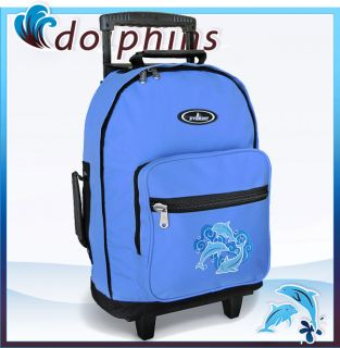 Dolphin Dolphins Rolling Backpack School Travel Bags