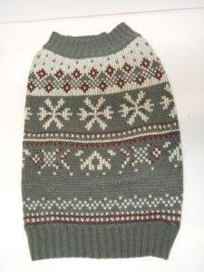 New Martha Stewart Gray Snowflake Dog Sweater Sz M Medium