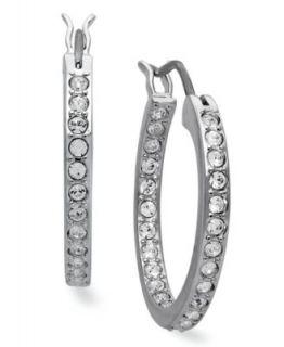 Traditions Sterling Silver Earrings, Channel Set Clear Swarovski