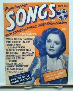 Sept 1947 Popular Hit Songs Magazine Martha Vickers