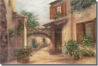 Martinelli Tuscan Buildings Floral Ceramic Tile Mural