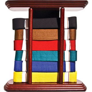Table Top Martial Arts 6 or 10 Belt Display Case with Laser Carved