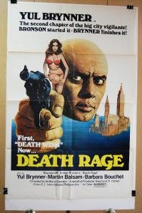 1976 Death Rage Original 27x41 Movie Poster Yul Brynner Action