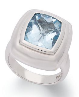 Sterling Silver Ring, Blue Topaz Cushion Cut Ring (6 1/2 ct. t.w