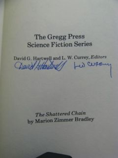 1st HB Signed by 6 Shattered Chain by Marion Zimmer Bradley Gregg