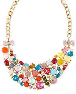 Betsey Johnson Necklace, Gold Tone Glass Acrylic Candy Bib Necklace