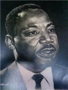 Martin Luther King Jr Portrait Charcoal Pencil Drawing