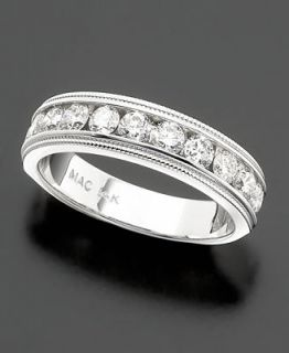 14k White Gold Diamond Milgrain Band (1/2   1 ct. t.w.)