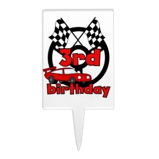 Red Racing Car 3rd Birthday Cake Topper