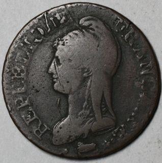 1799 A LAN 8 A R RARE Over Mint Mark Double Struck Error France 5