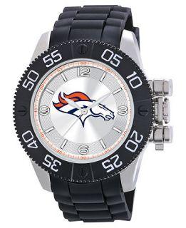 Game Time Watch, Mens Denver Broncos Black Polyurethane Strap 47mm