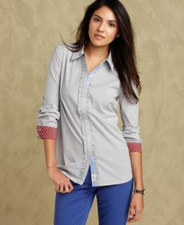 Tommy Hilfiger Shirt, Long Sleeve Striped Button Down