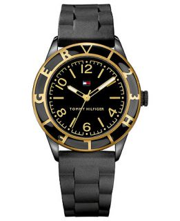 Tommy Hilfiger Watch, Womens Black Silicone Strap 45mm 1781183