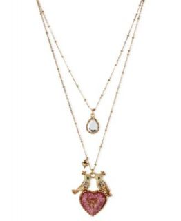 Betsey Johnson Necklace, Gold Tone Glass Acrylic Candy Heart Illusion