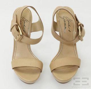 Mark James Badgley Mischka Tan Leather Ankle Strap Platform Heels Size