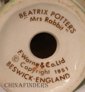 Royal Doulton Beatrix Potter Figurine Mrs Rabbit Ear Chip