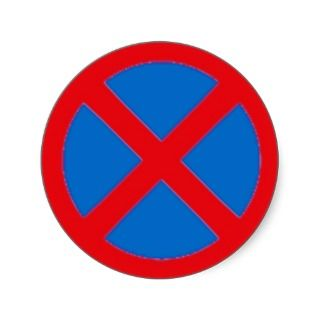 Round Sticker with No stopping sign.