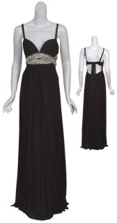 Mary L Couture Blk Rhinestone Pearl Gown Dress 12 New