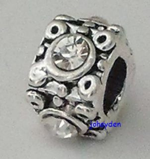 Silver Square opean Beads Charms with CZs