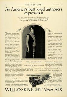 1926 Ad Willys Knight Six Mary Roberts Rinehart Author Toledo Ohio