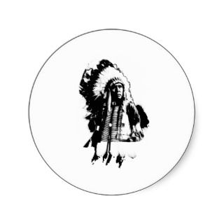 Native American Indian Chief or Brave Round Stickers