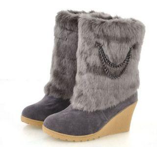 Suede Chain Trim Wide Platform High Heel Mid Calf Boots 2012