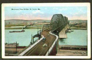 Municipal Free Bridge St Louis MO Postcard