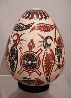 Miguel Rodriguez Mata Ortiz Mexico Pottery Pictorial Parrot Eagle Fish