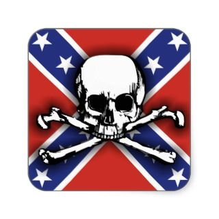 Confederate Skull & Crossbones Square Sticker