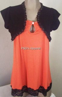 Womens Maternity Clothes Orange Tank Top Shirt Blouse w Black Jacket s