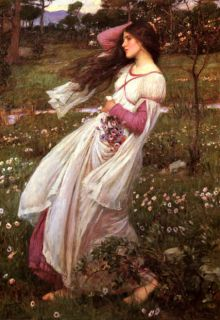 SPRING FASHION GIRL BY WATERHOUSE PAINTER ART ON PAPER REPRO LARGE