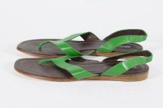 Matiko Green Brown Leather Sandal Slingback Flip Flop 9
