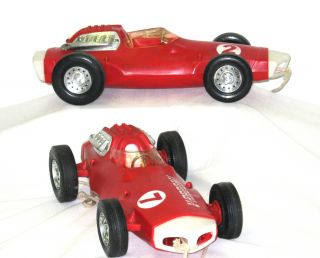 This auction is for 2 1963 Vintage V Rroom Red Race Car Toys by Mattel