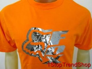 Fox Racing Co Logo T Shirt Mens Short Sleeve Orange Size s M L XL 2XL