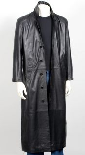 Mens Leather Full Length Matrix Coat Black Nappa