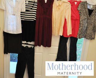 Motherhood Maternity Clothes Size Large 9 Piece Lot Tops Dress Pants