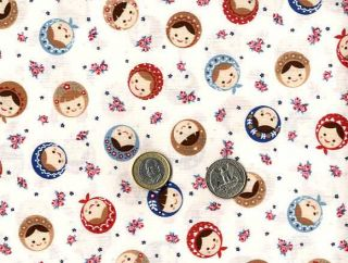 Russian Matryoshka Doll Faces and Roses Print Japanese Fabric Half
