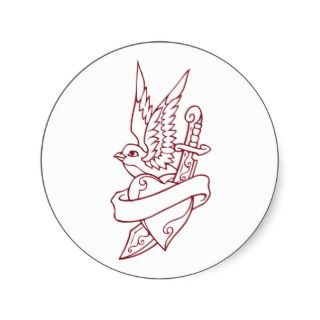 Bird Heart Dagger Tattoo Sticker