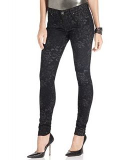 For All Mankind Jeans, Skinny Brocade Black Wash